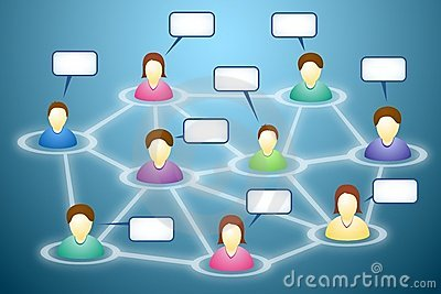 Social network members with text clouds