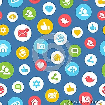 Social network seamless pattern Vector Illustration