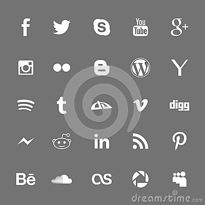 Free Social Network White Icons Silhouettes Stock Image - 59251401