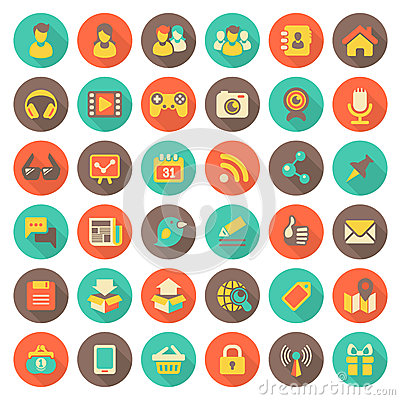 Free Social Networking Flat Round Icons With Long Shadows Royalty Free Stock Images - 34063789