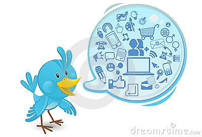Social Networking Media Bluebird With A Speech Bub