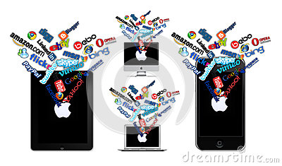 Social technology on Apple Editorial Stock Image