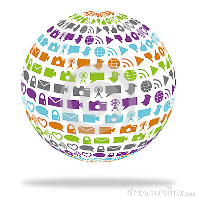 Social technology globe filled with media icons