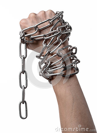Free Social Theme: Hands Tied A Metal Chain On A White Background Royalty Free Stock Photography - 49441077