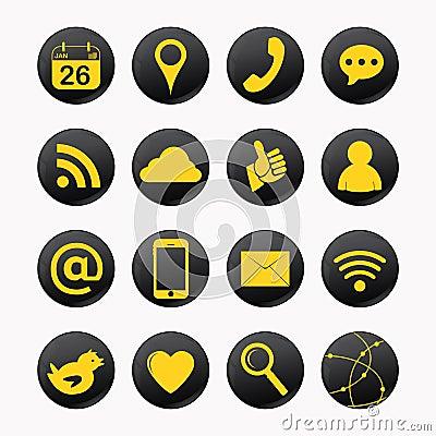 Social yellow icons
