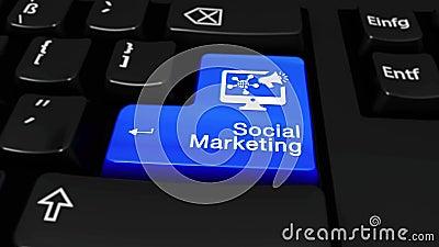 Sociale Marketing om Motie op de Knoop van het Computertoetsenbord vector illustratie