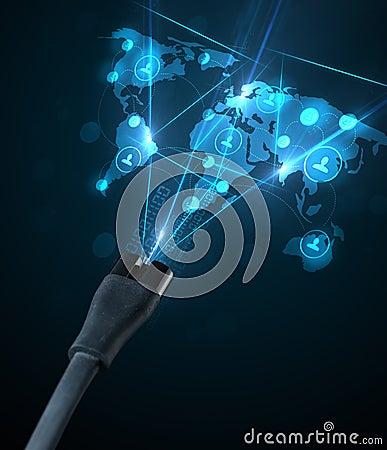 Sociale netwerkpictogrammen die uit elektrische kabel komen