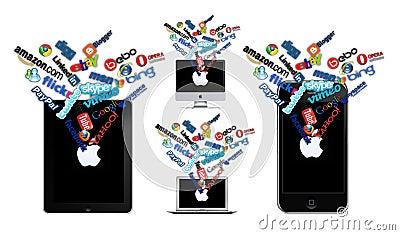 Sociale technologie op Appel Redactionele Stock Afbeelding