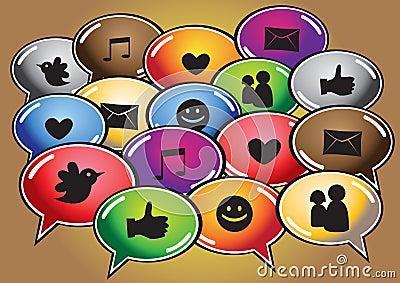 Sociale voorzien van een netwerkpictogrammen
