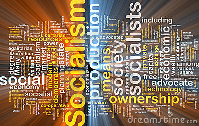 Socialism word cloud glowing