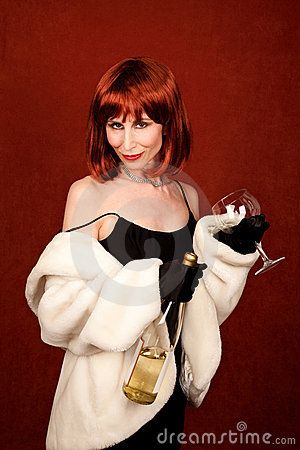 Socialite with brassy red hair and wine bottle