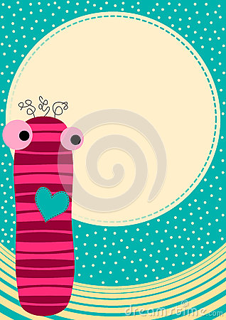 Sock doll greeting card with moon