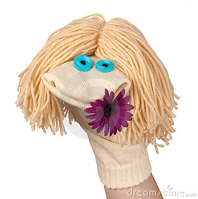 Sock puppet with a flower