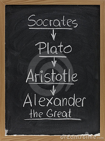 socrates plato aristotle on blackboard royalty free