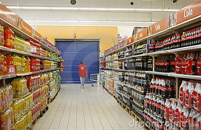 Soda department in supermarket Editorial Photo