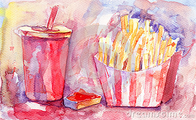 Soda drink with french fries