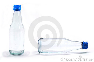 Soda water bottle with blank label. Isolated on wh