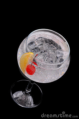 Soda Water with Cherry and Lemon Wedge