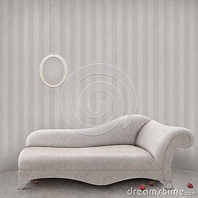Sofá em um quarto branco.