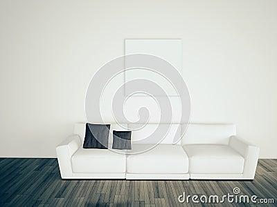 Sofá interior en blanco mínimo