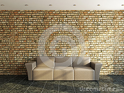 Sofá perto de uma parede velha