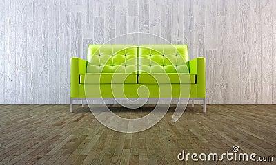 Sofá verde en estilo mínimo