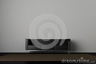 Sofá e parede cinzenta