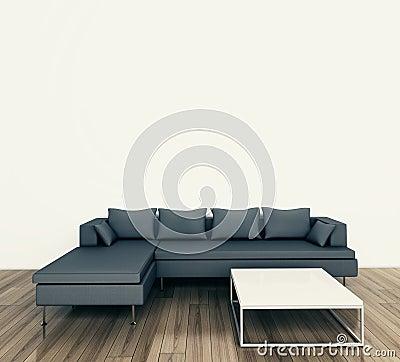 Sofá e tabela interiores modernos mínimos