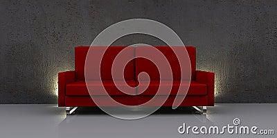 Sofá rojo moderno