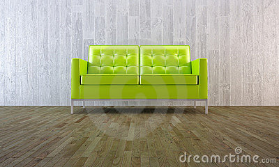Sofá verde no estilo mínimo