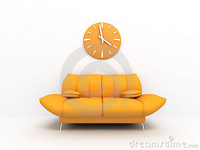 Sofa and clock
