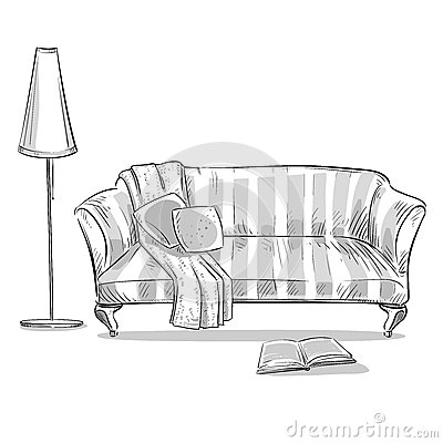 Sofa confortable et une lampe illustration de vecteur for Sofa zeichnung