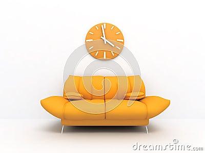 Sofa et horloge
