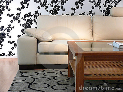 Sofa and Flower Wall Paper