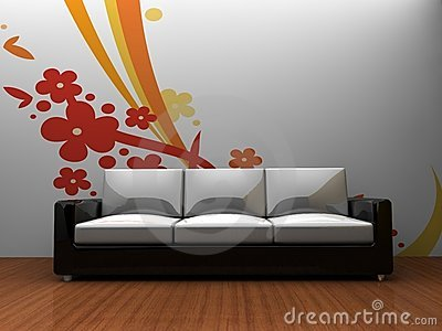 Sofa indoors with a pattern on the wall