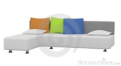 Sofa with multi-colored pillows on