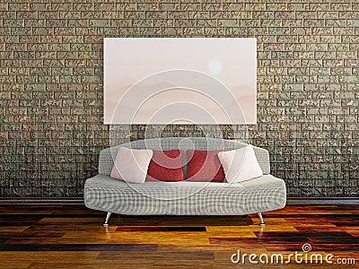 Sofa near a dirty wall