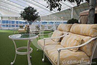Sofa on open deck spa onboard of cruise ship