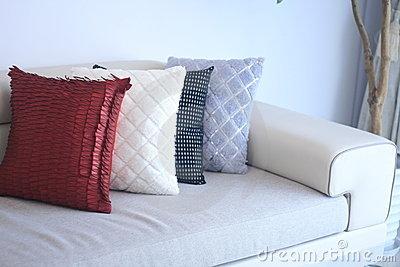 Sofa and pillow closeup