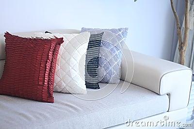 Sofa and pillow closeup