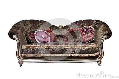 Sofa with pillows isolated