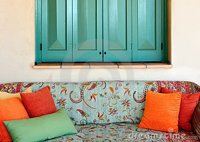 Sofa in the porch of a Greek island house