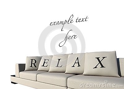 Sofa with relax text