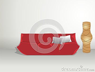 Sofa and rice paper lamp