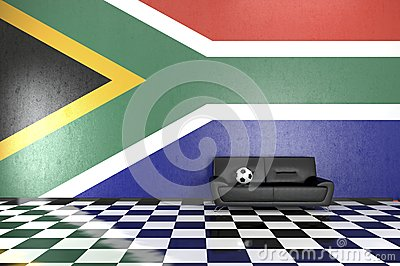 Sofa in Room with South Africa Flag on Background