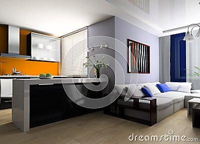 Sofa in studio apartment