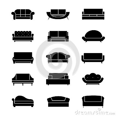 Free Sofas And Couches Furniture Black Vector Icons Stock Photography - 69783792