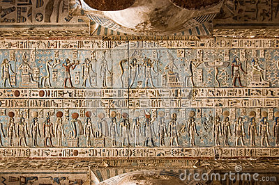 Soffitto Hieroglyphic, tempiale di Dendera, Egitto