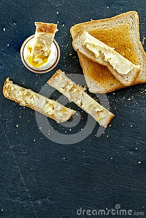 Free Soft Boiled Egg And Toast Bread Slice With Butter Breakfast Concept Stock Photos - 117645033