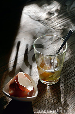 Soft-boiled egg in retro clear glass